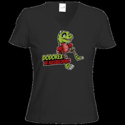 Motiv: T-Shirt Damen V-Neck Classic - Dodo-Rex in Ausbildung