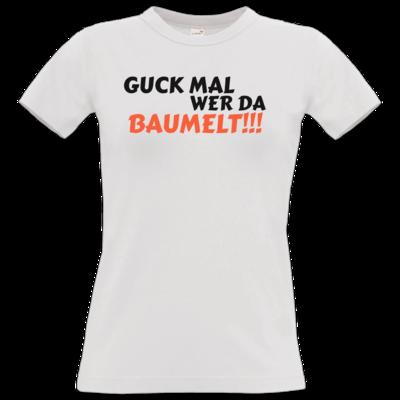 Motiv: T-Shirt Damen Premium FAIR WEAR - Guck mal wer da Baumelt