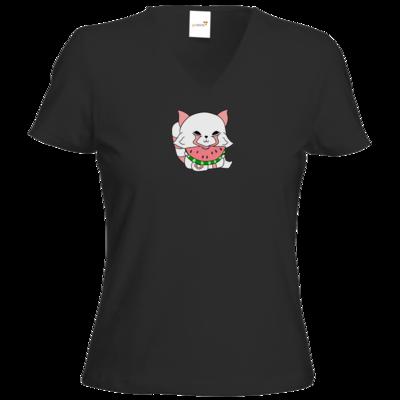 Motiv: T-Shirt Damen V-Neck Classic - Chibipachs watermelon
