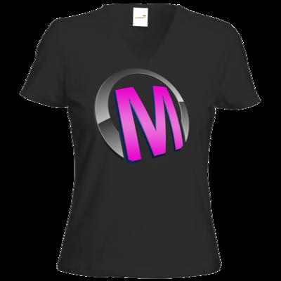 Motiv: T-Shirt Damen V-Neck Classic - Macho - Logo - Rosa