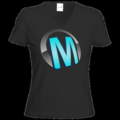 Motiv: T-Shirt Damen V-Neck Classic - Macho - Logo - Türkis