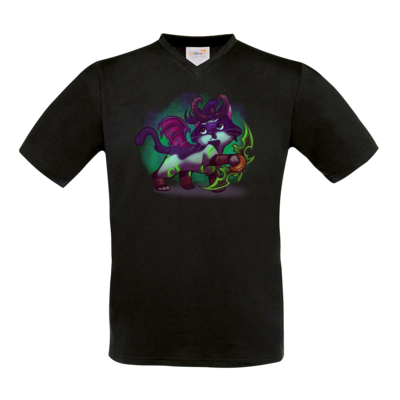 Motiv: T-Shirt V-Neck FAIR WEAR - Pan Tau - Illidan (wow)