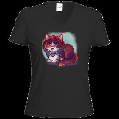 Motiv: T-Shirt Damen V-Neck Classic - Kitty - Triss (witcher)