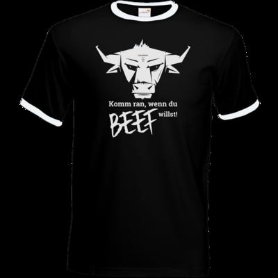 Motiv: T-Shirt Ringer - Willste Beef?