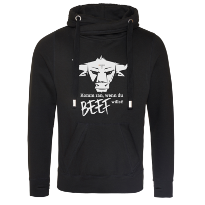 Motiv: Cross Neck Hoodie - Willste Beef?