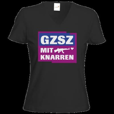 Motiv: T-Shirt Damen V-Neck Classic - GZSZ mit Knarren