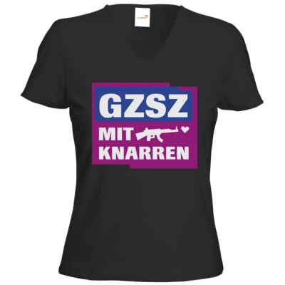 Motiv: T-Shirts Damen V-Neck FAIR WEAR - GZSZ mit Knarren