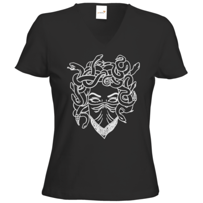 Motiv: T-Shirts Damen V-Neck FAIR WEAR - Medusa