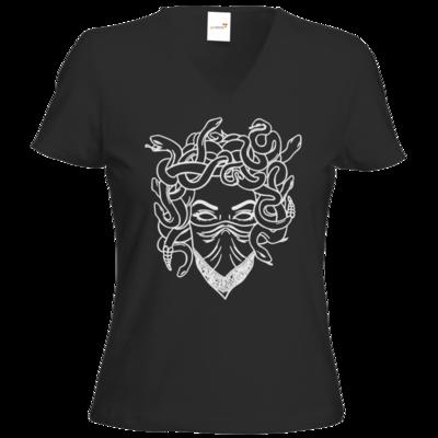 Motiv: T-Shirts Damen V-Neck FAIR WEAR - Medusa