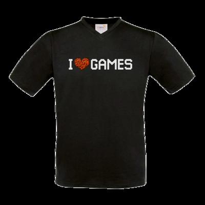 Motiv: T-Shirt V-Neck FAIR WEAR - hirnsturz-ILoveGames-Pixel