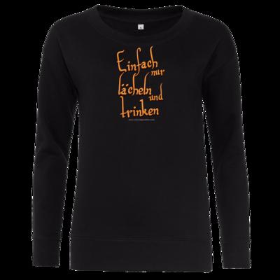 Motiv: Girlie Crew Sweatshirt - lächeln und trinken