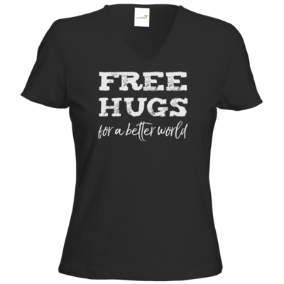Motiv: T-Shirt Damen V-Neck Classic - Free Hugs #01