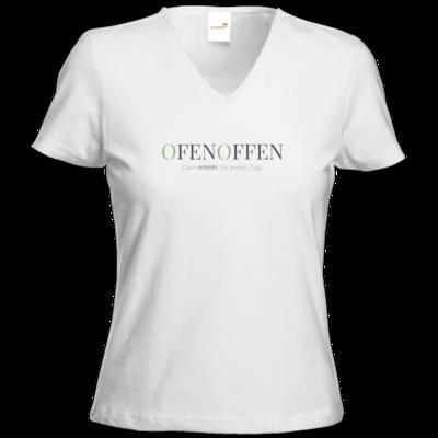 Motiv: T-Shirts Damen V-Neck FAIR WEAR - Ofen Offen Dein mhhh! für jeden Tag.