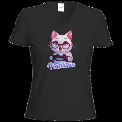 Motiv: T-Shirt Damen V-Neck Classic - Nashi Logo + Schriftzug