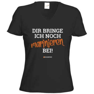 Motiv: T-Shirts Damen V-Neck FAIR WEAR - Marinieren bei bringen!