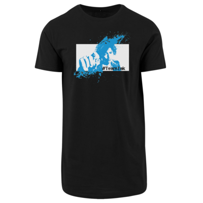 Motiv: Shaped Long Tee - #TeamTak - Blau