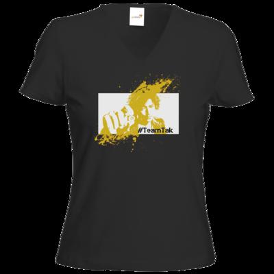 Motiv: T-Shirt Damen V-Neck Classic - #TeamTak - Gelb