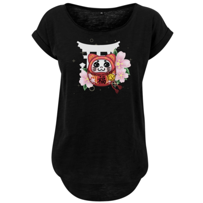 Motiv: Ladies Long Slub Tee - Neko Daruma