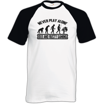 Motiv: TShirt Baseball - Evolution PUBG never play alone black or white
