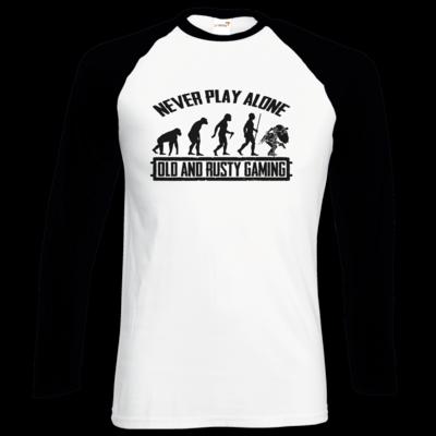 Motiv: Longsleeve Baseball T - Evolution PUBG never play alone black or white