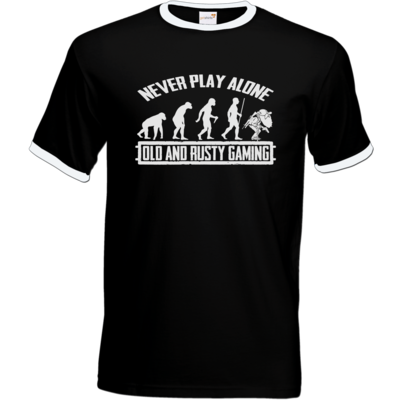 Motiv: T-Shirt Ringer - Evolution PUBG never play alone black or white