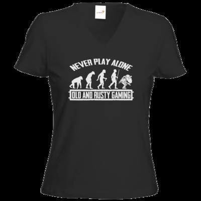 Motiv: T-Shirt Damen V-Neck Classic - Evolution PUBG never play alone black or white