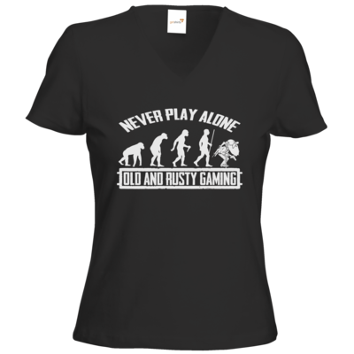 Motiv: T-Shirts Damen V-Neck FAIR WEAR - Evolution PUBG never play alone black or white