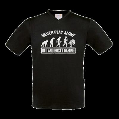 Motiv: T-Shirt V-Neck FAIR WEAR - Evolution PUBG never play alone black or white
