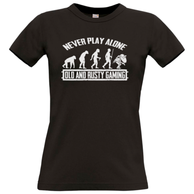 Motiv: T-Shirt Damen Premium FAIR WEAR - Evolution PUBG never play alone black or white