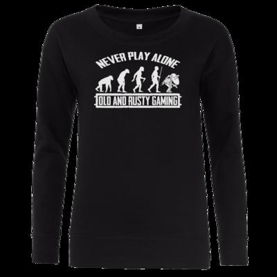 Motiv: Girlie Crew Sweatshirt - Evolution PUBG never play alone black or white