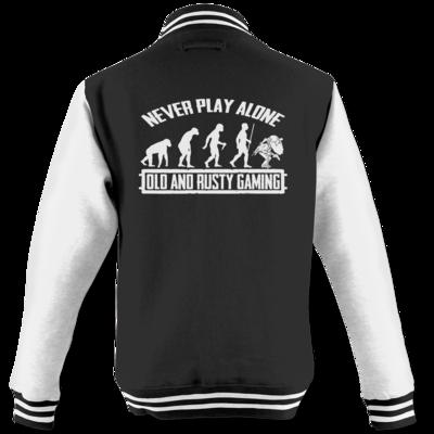 Motiv: College Jacke - Evolution PUBG never play alone black or white