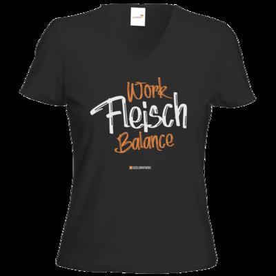 Motiv: T-Shirts Damen V-Neck FAIR WEAR - Fleisch Balance