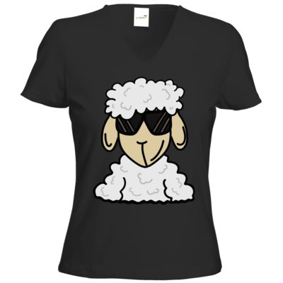 Motiv: T-Shirts Damen V-Neck FAIR WEAR - ZOS Schaf mit Sonnenbrille