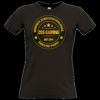 Motiv: T-Shirt Damen Premium FAIR WEAR - ZOS Vintage GOLD - Eimer mit Profis