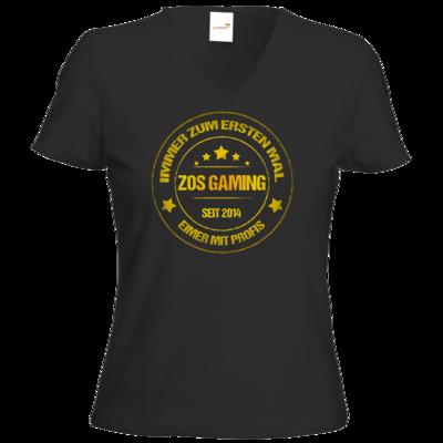 Motiv: T-Shirt Damen V-Neck Classic - ZOS Vintage GOLD - Eimer mit Profis