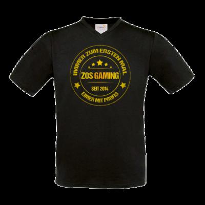 Motiv: T-Shirt V-Neck FAIR WEAR - ZOS Vintage GOLD - Eimer mit Profis