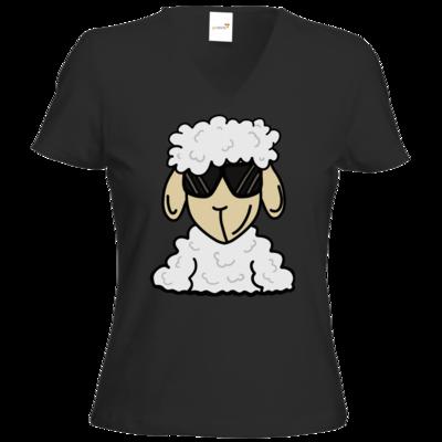 Motiv: T-Shirt Damen V-Neck Classic - ZOS Schaf mit Sonnenbrille