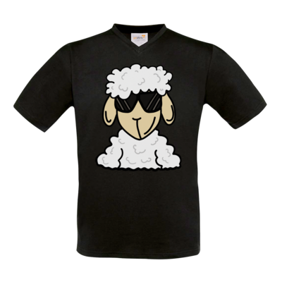 Motiv: T-Shirt V-Neck FAIR WEAR - ZOS Schaf mit Sonnenbrille