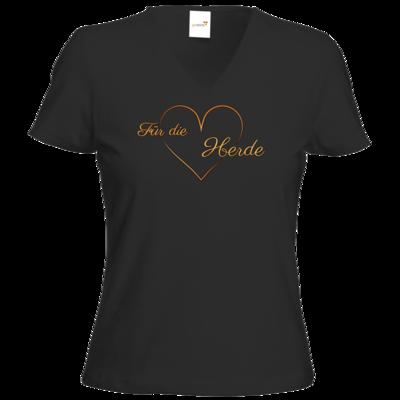 Motiv: T-Shirt Damen V-Neck Classic - Für die Herde - Herz