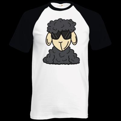 Motiv: TShirt Baseball - ZOS Schaf mit Sonnenbrille grau