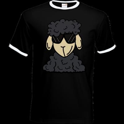 Motiv: T-Shirt Ringer - ZOS Schaf mit Sonnenbrille grau