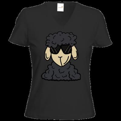 Motiv: T-Shirt Damen V-Neck Classic - ZOS Schaf mit Sonnenbrille grau