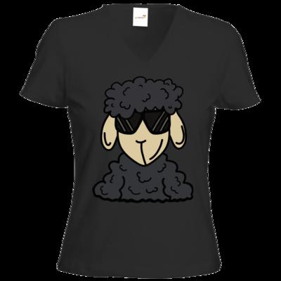 Motiv: T-Shirts Damen V-Neck FAIR WEAR - ZOS Schaf mit Sonnenbrille grau