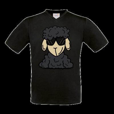 Motiv: T-Shirt V-Neck FAIR WEAR - ZOS Schaf mit Sonnenbrille grau