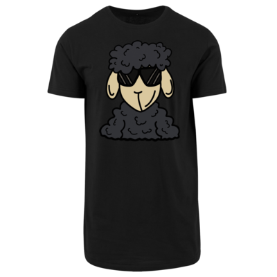 Motiv: Shaped Long Tee - ZOS Schaf mit Sonnenbrille grau