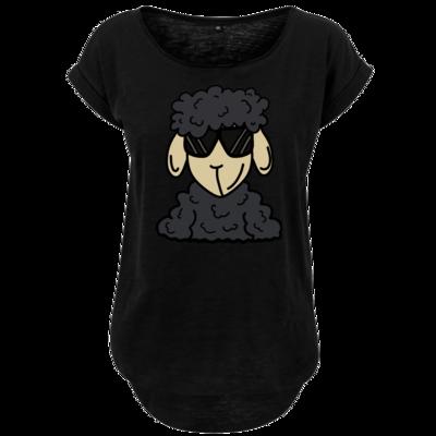 Motiv: Ladies Long Slub Tee - ZOS Schaf mit Sonnenbrille grau