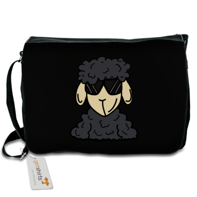 Motiv: Schultertasche - ZOS Schaf mit Sonnenbrille grau