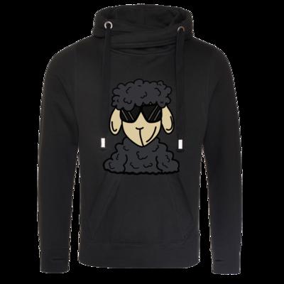 Motiv: Cross Neck Hoodie - ZOS Schaf mit Sonnenbrille grau