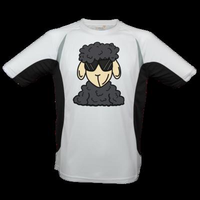 Motiv: Laufshirt Running T - ZOS Schaf mit Sonnenbrille grau