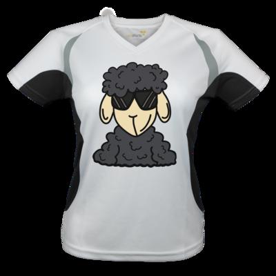 Motiv: Laufshirt Lady Running T - ZOS Schaf mit Sonnenbrille grau